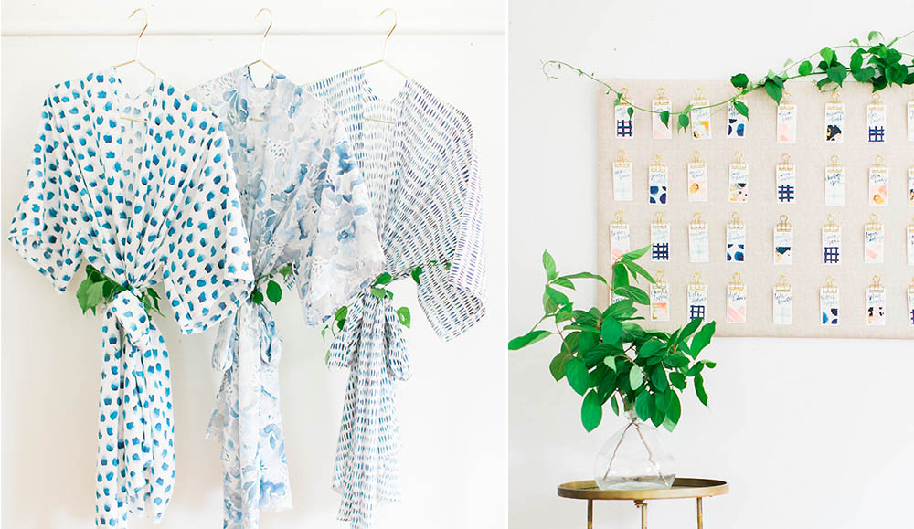 DIY bridal party robes and fabric escort cards for your big day! | Spoonflower Blog