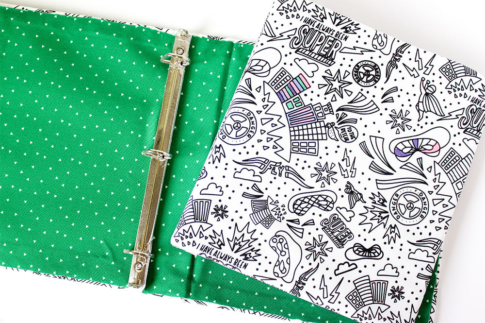 DIY Fabric Coloring Book Binder by Printable Crush | Spoonflower's Back to School Blog Hop
