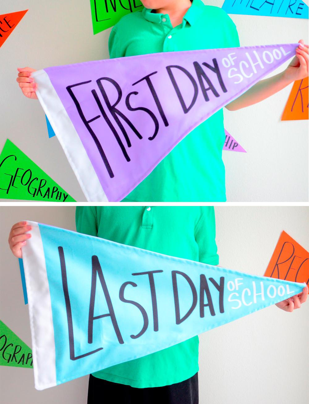 Reversible First Day / Last Day Pennants by Cozy Reverie | Spoonflower's Back to School Blog Hop