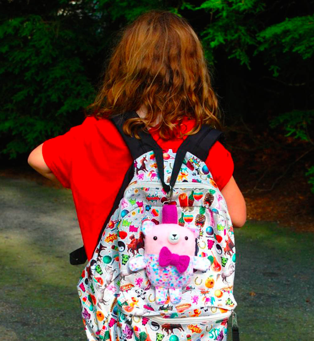 Backpack Plushie Key Chain by Abby Glassenberg   Spoonflower's Back to School Blog Hop