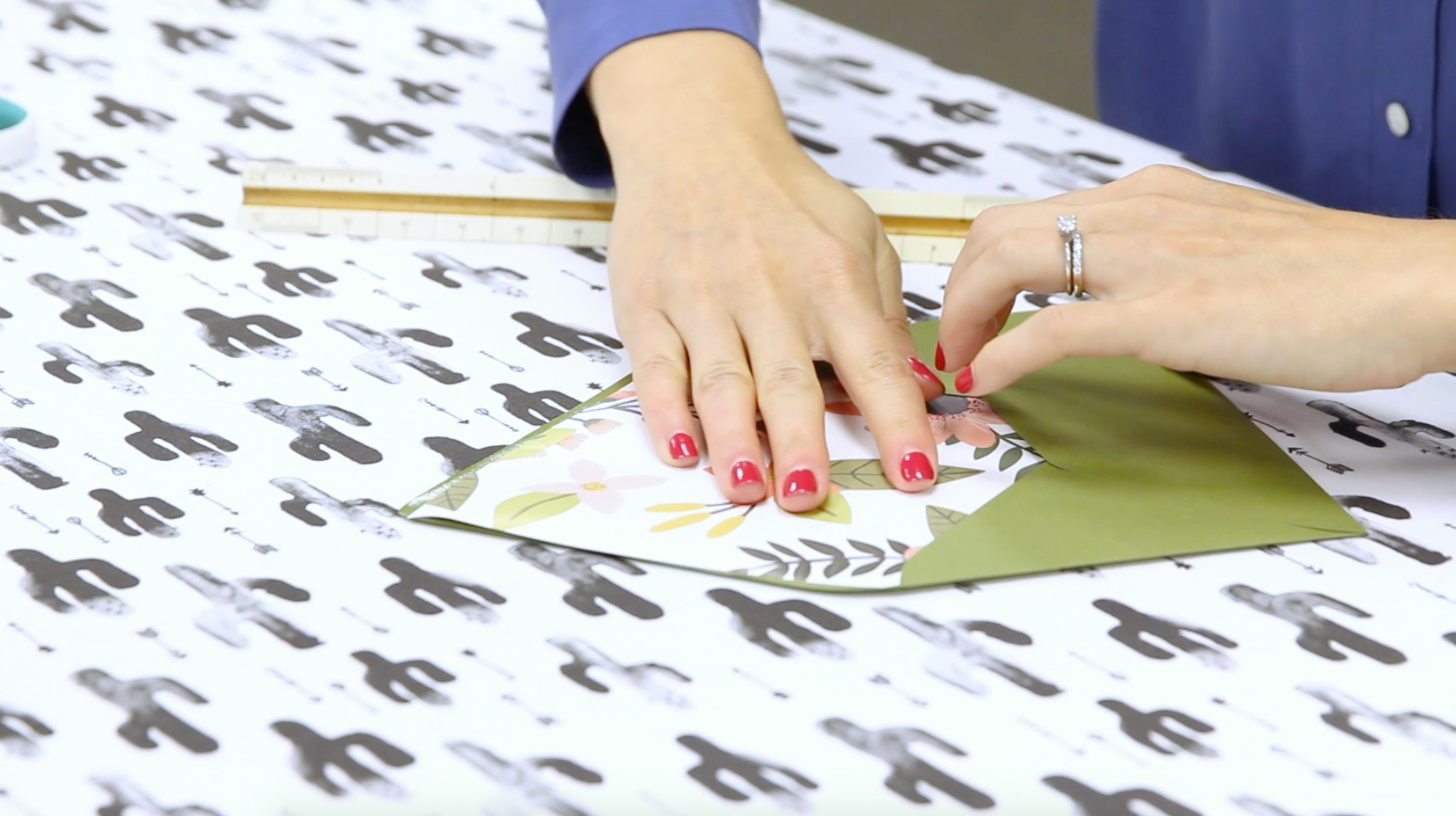 Sliding Liner Paper into Envelope | Spoonflower Blog