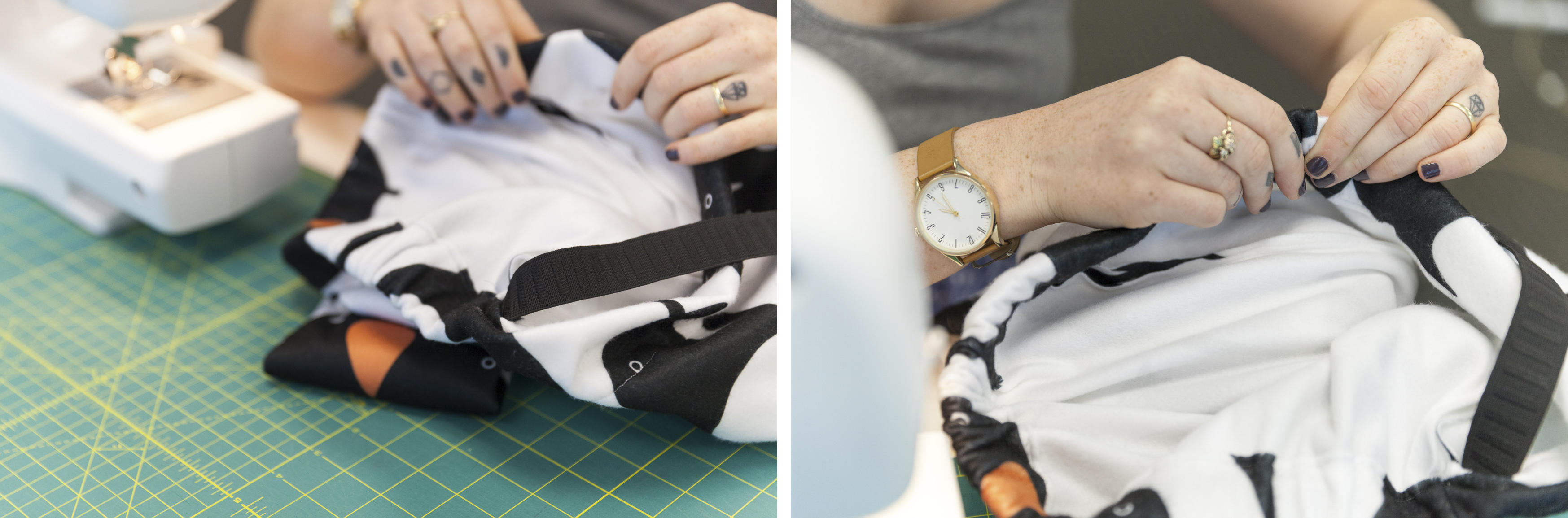 Feeding elastic into the waistband | Spoonflower Blog