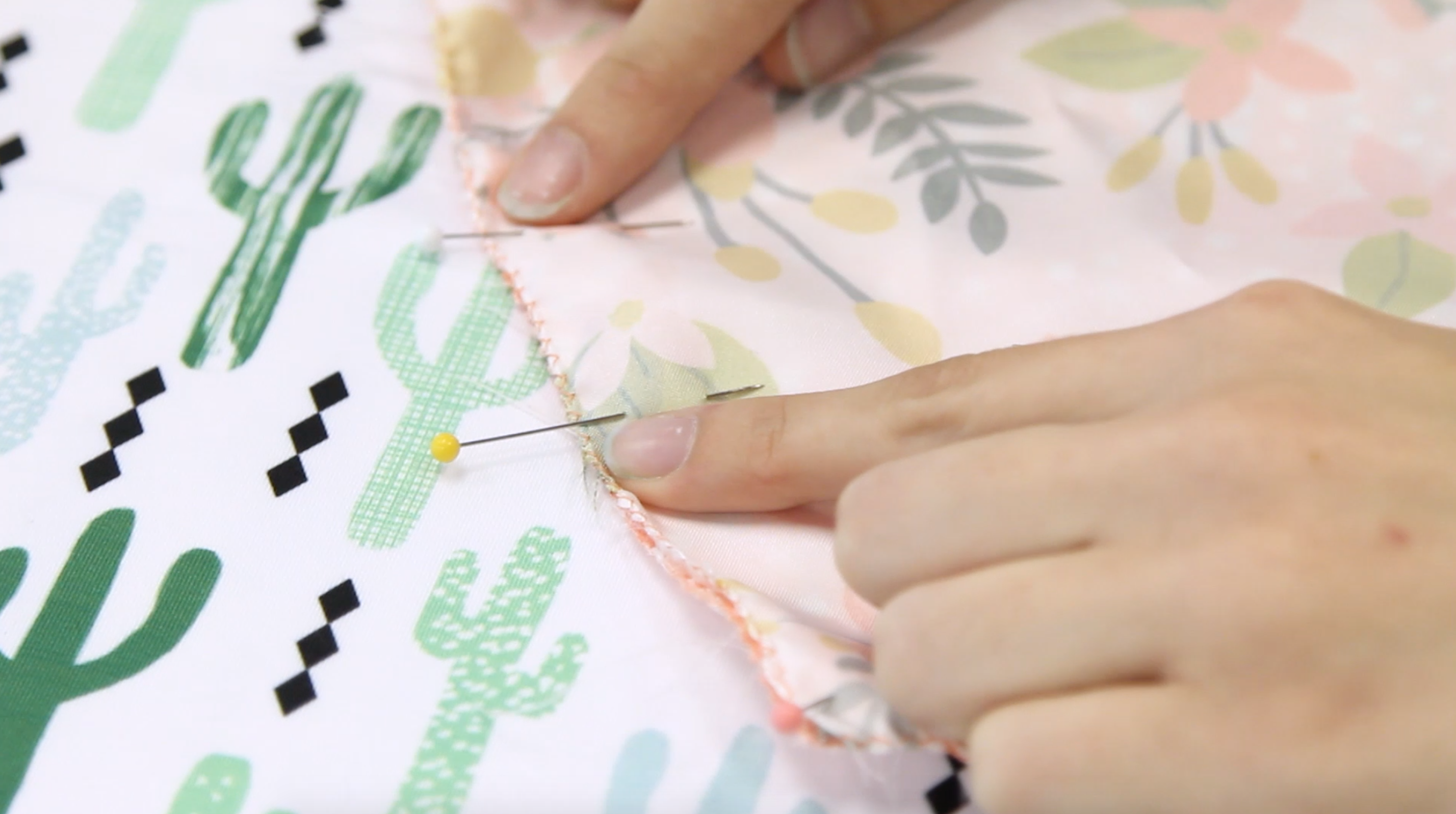 Sew your two squares together leave a small gap for turning inside out. | Spoonflower Blog