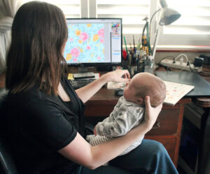 Micklyn and her baby in the studio | Spoonflower Blog