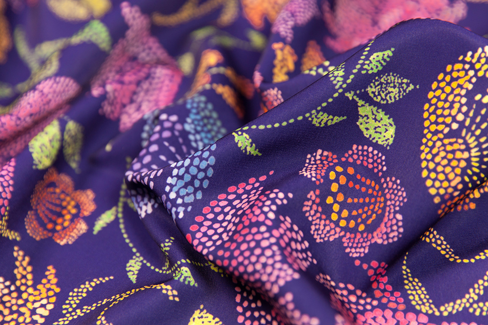 Pointillism design challenge winner: Passion Flowers by ceciliamok | Spoonflower Blog