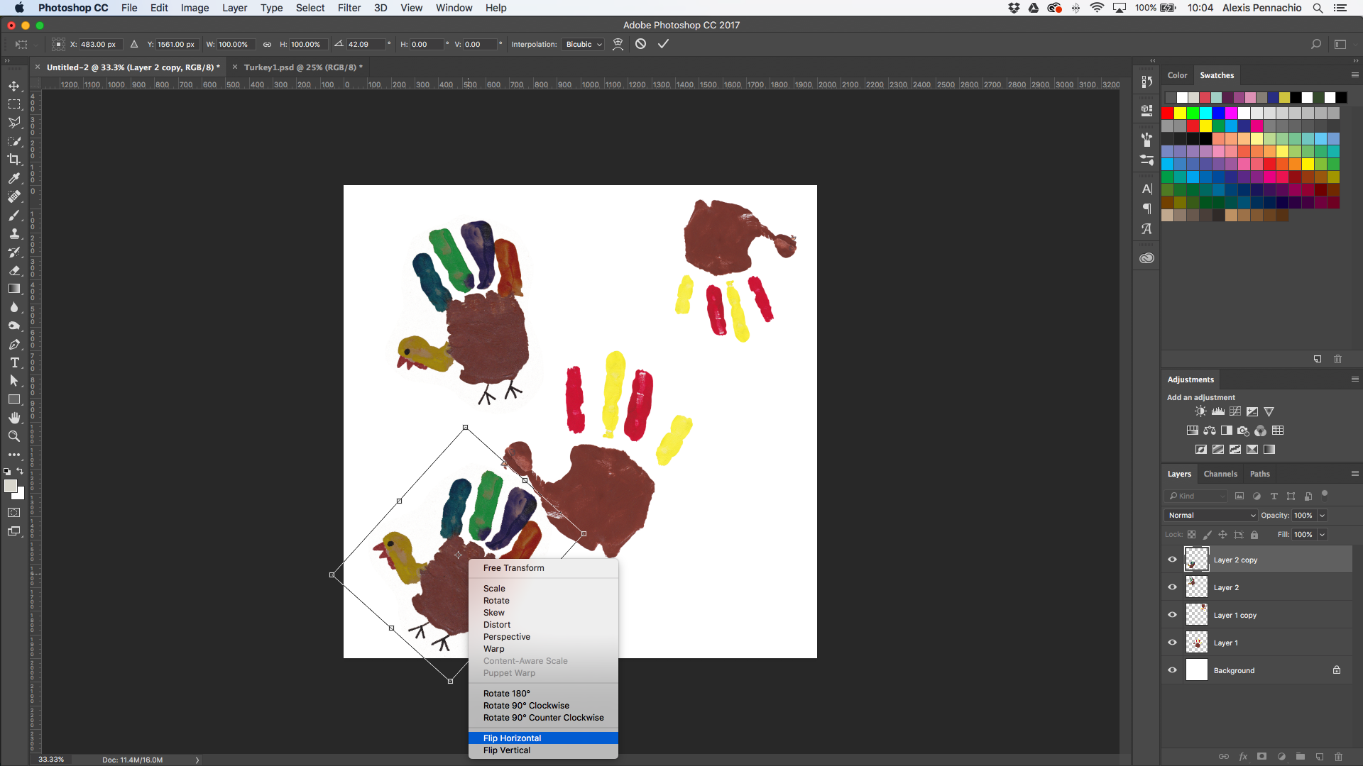 Use the transform tool to move around and resize turkeys | Spoonflower Blog