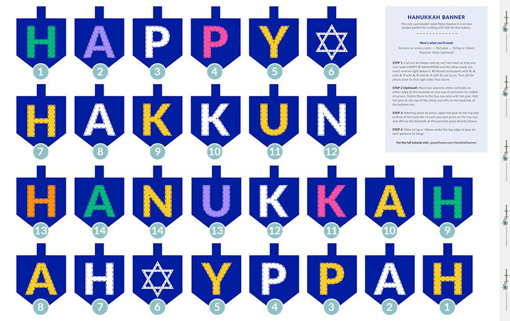 Handmade Hanukkah: Double-Sided Hanukkah Dreidel Bunting | Spoonflower Blog