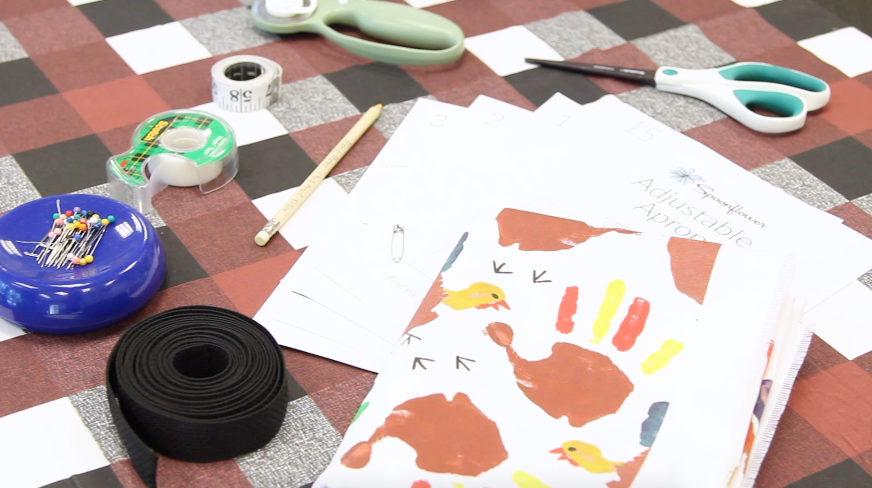 Getting materials ready for our apron | Spoonflower Blog