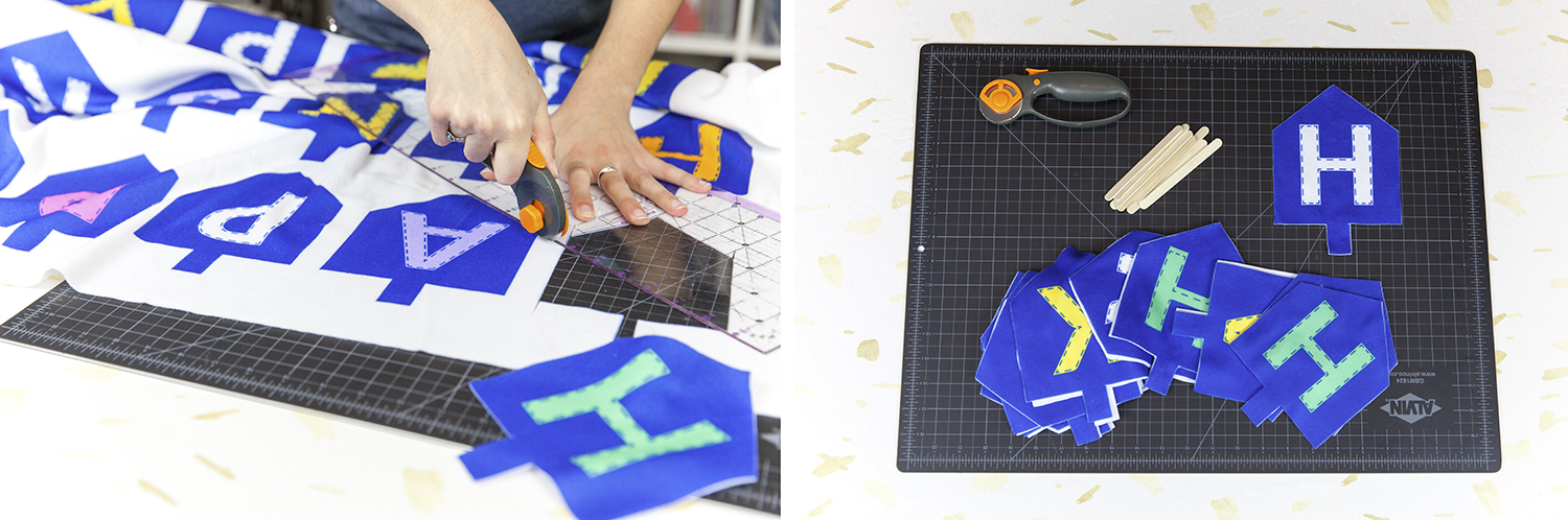 Cutting out the Pieces for our Dreidel Bunting | Spoonflower Blog