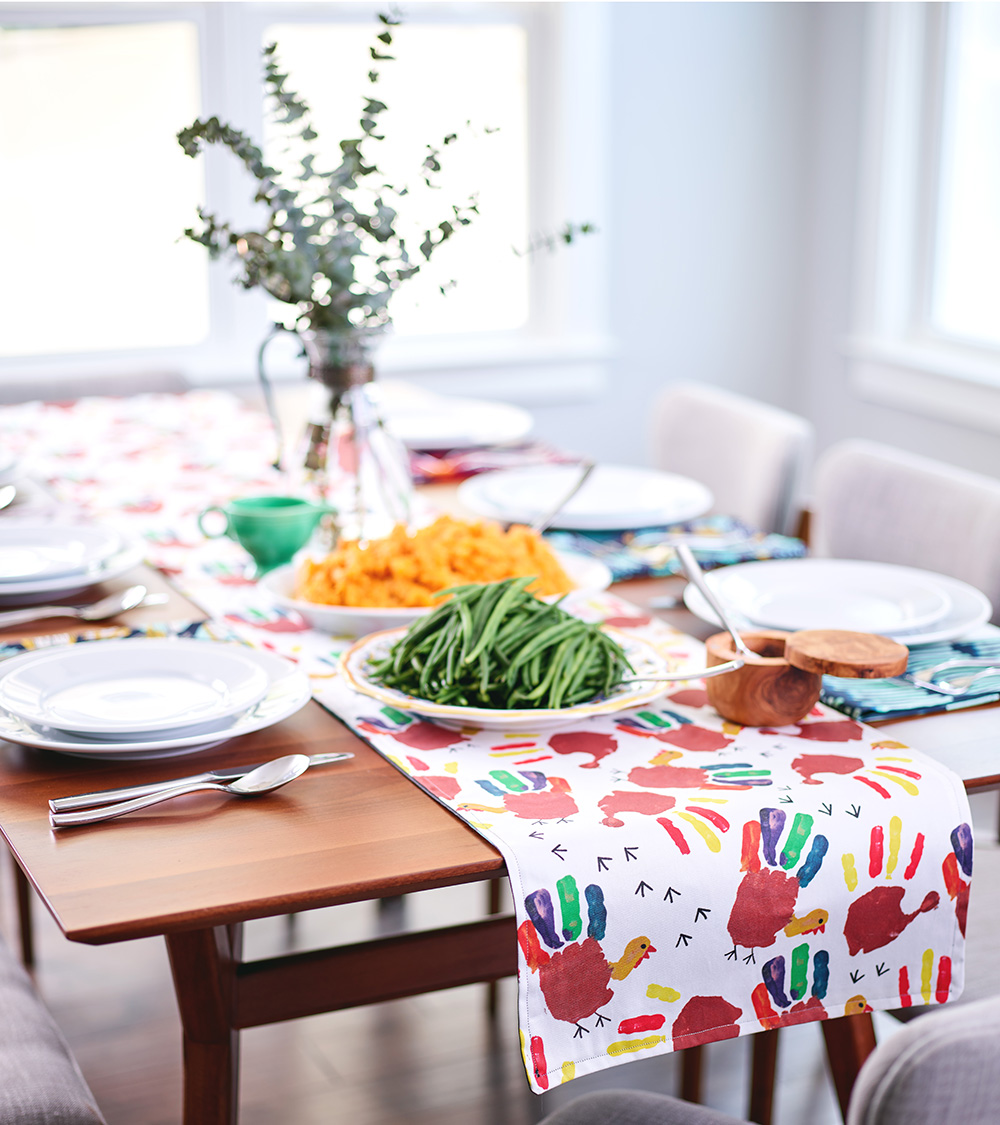 Add a touch of personalization using your child's artwork on one side of your table runner | Spoonflower Blog