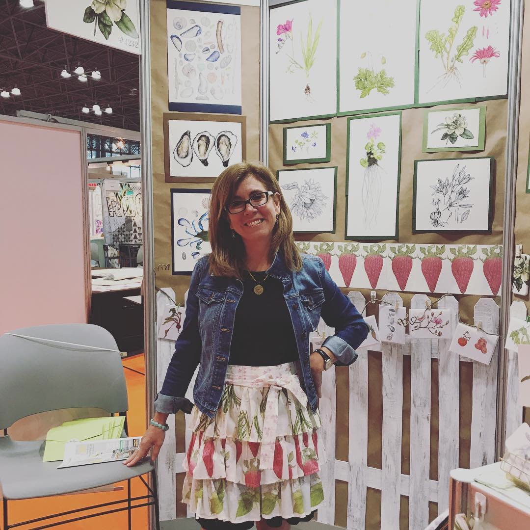 Betsy Barry models her DIY apron that caught our eye at Surtex! | Spoonflower Blog