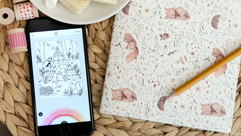 Nina Stajner's woodland characters are turned in a Lake coloring page! | Spoonflower Blog