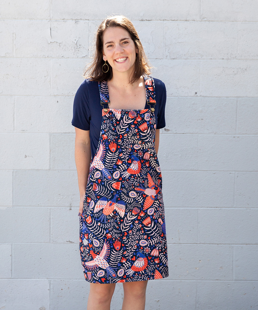 The Cleo overall dress featuring Celosia Velvet | Spoonflower Blog