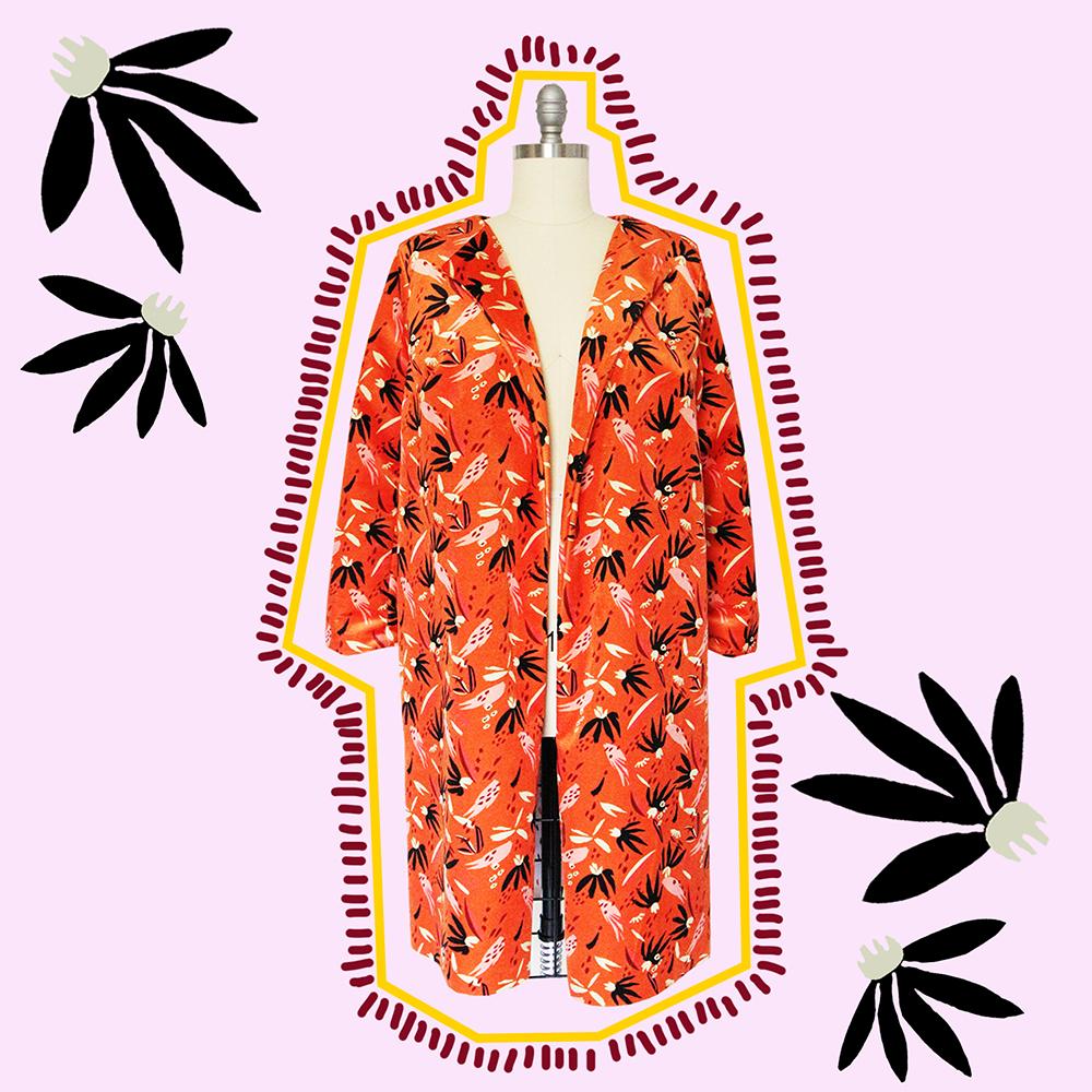 Wildflower Duster Coat in Celosia Velvet | Spoonflower Blog