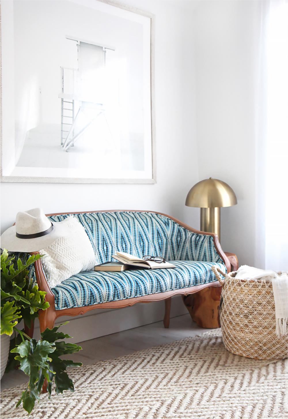 I SPY DIY upholstered settee using Celosia Velvet | Spoonflower Blog