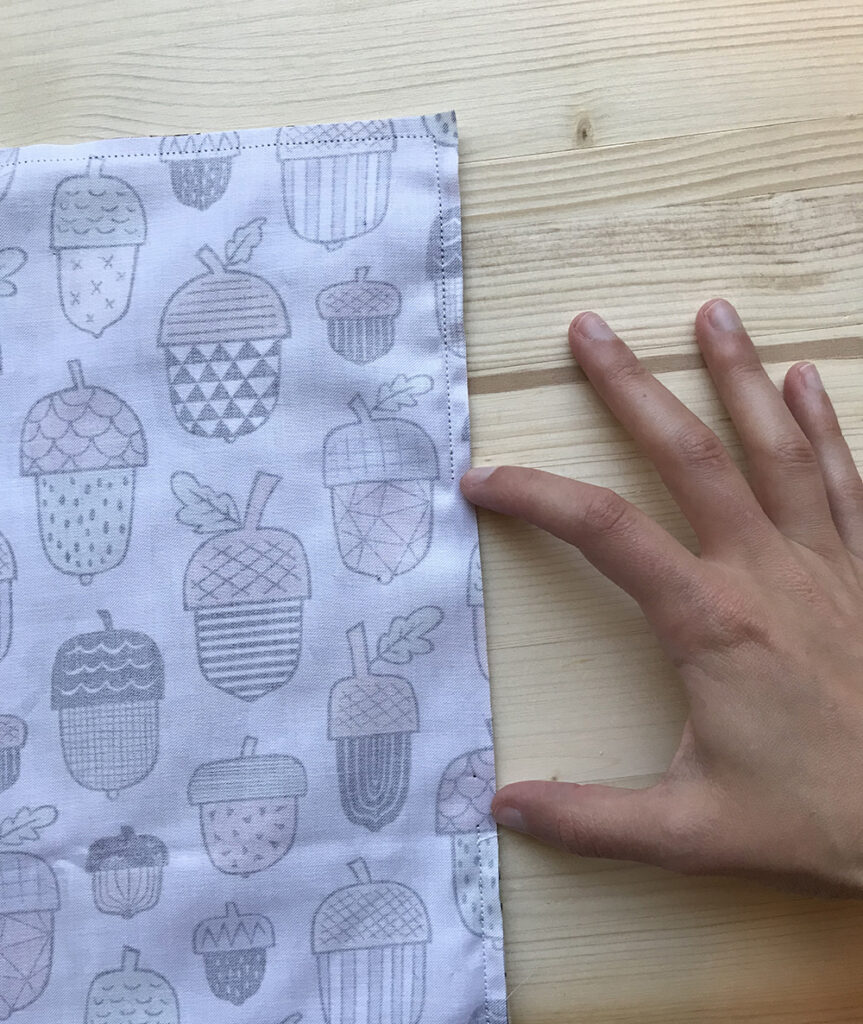 "Leave a 4"" opening when stitching your placemat 