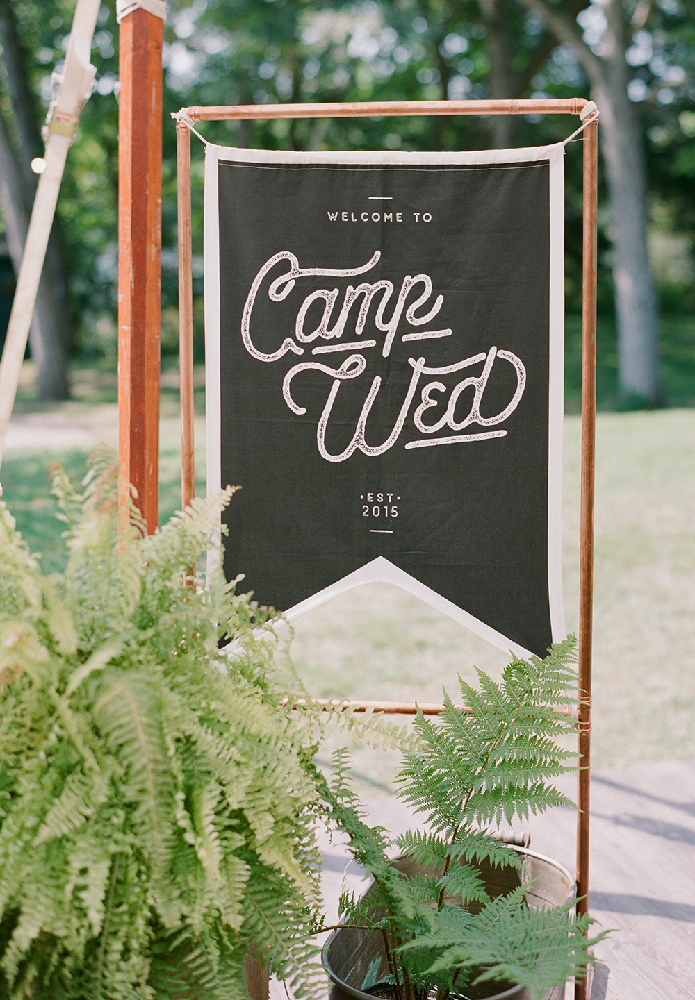 Campers were greeted with fabric signage, a custom printed element seen throughout camp. | Spoonflower Blog