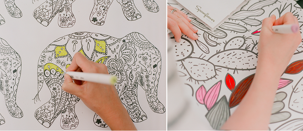 Wallpaper swatches make the perfect coloring break! | Spoonflower Blog