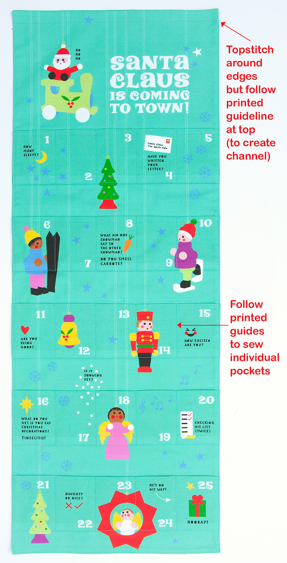 DIY Advent Calendar -topstitch the calendar | Spoonflower Blog