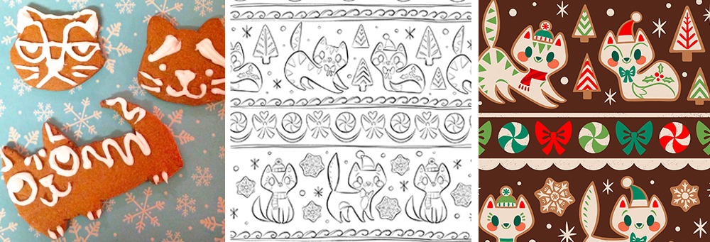 Gingerbread kitties by ThereWillBeCute | Spoonflower Blog