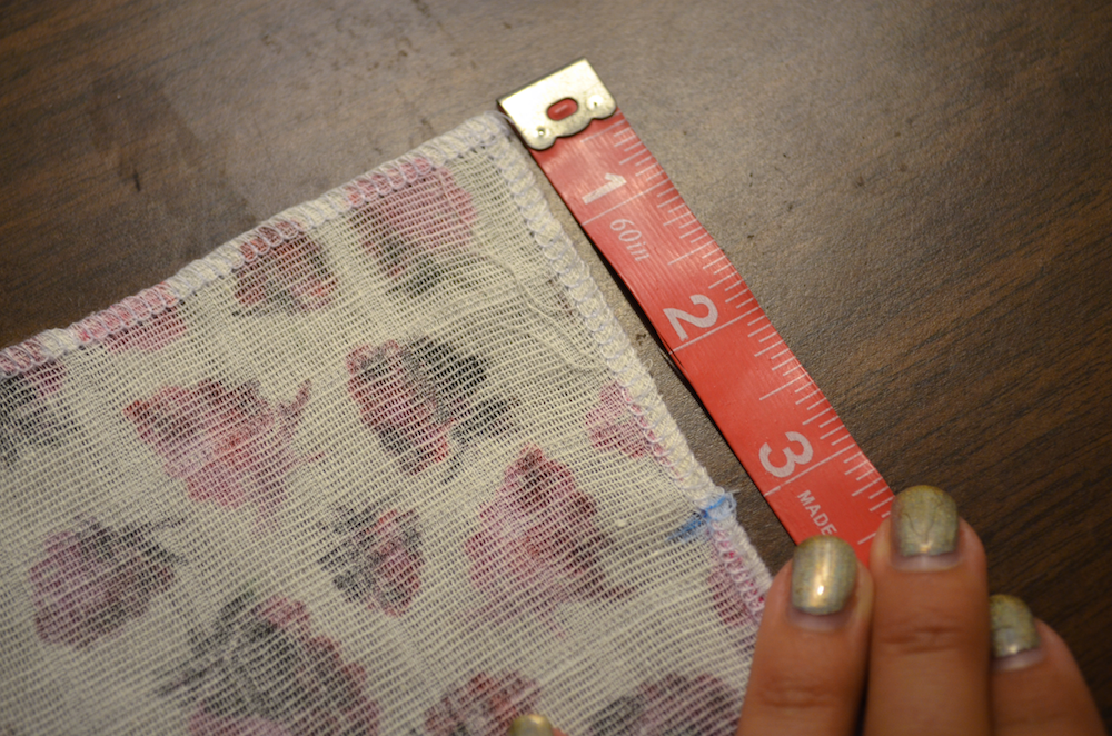 Measure and make a mark 3 inches from the top edge of your gauze | Spoonflower Blog