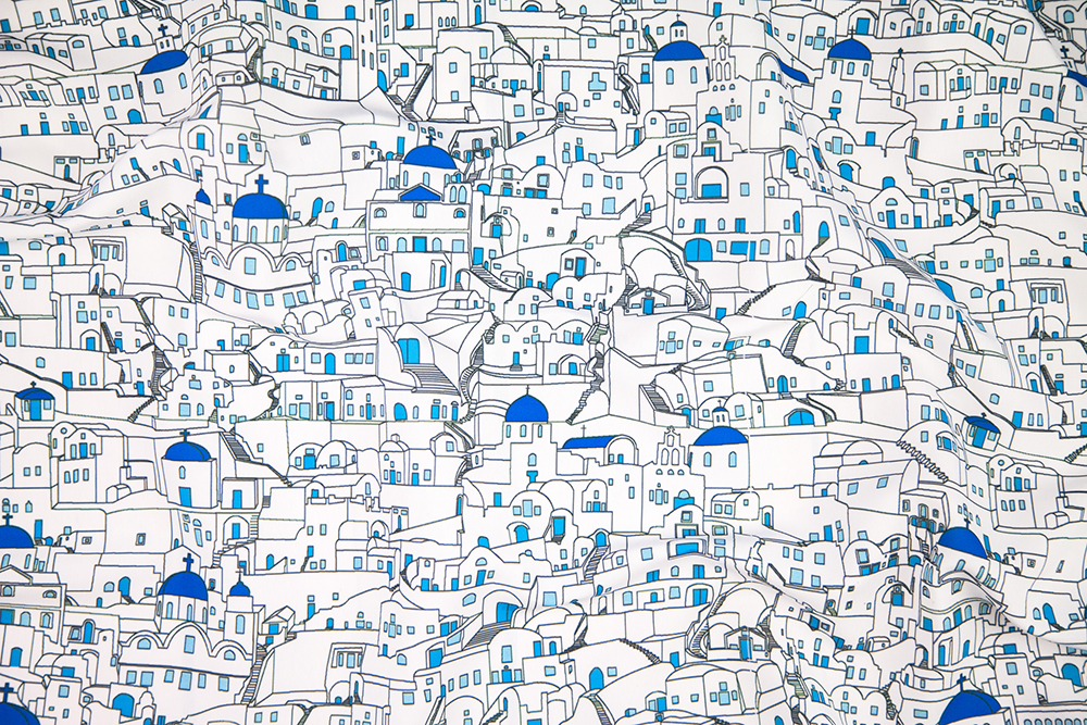 Greek Art Design Challenge Winner: Santorini_Skyline by fletcherartworksllc | Spoonflower Blog