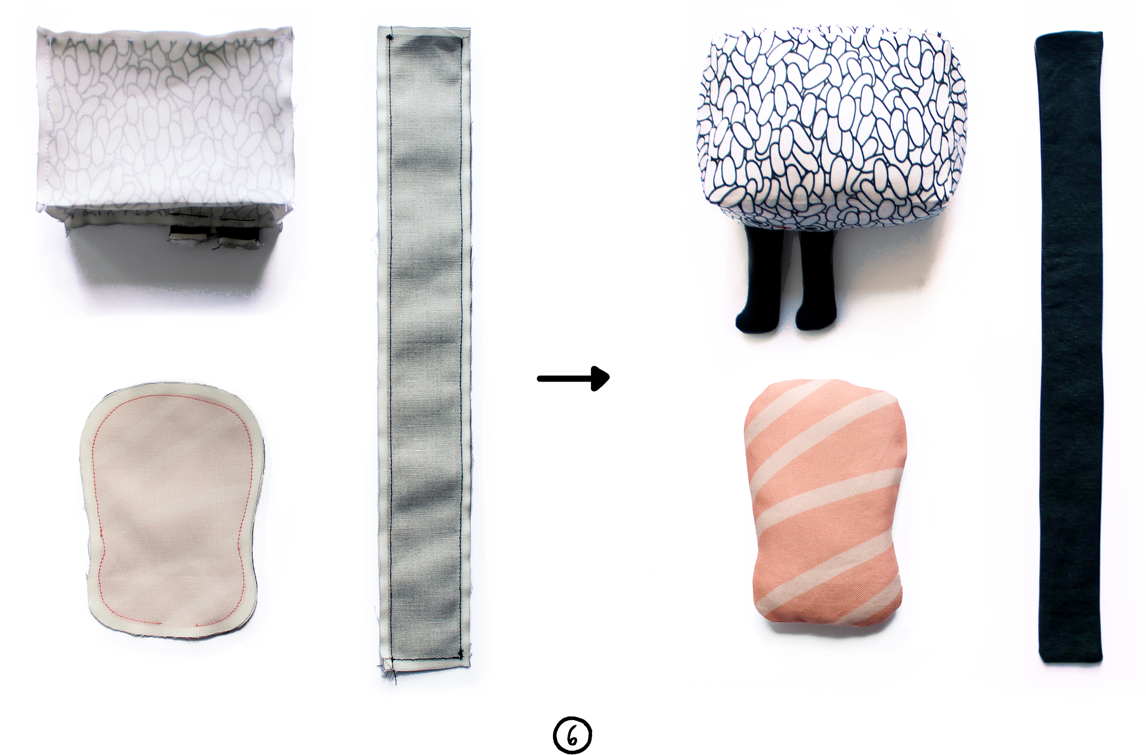 Sew your seaweed and salmon pieces together | Spoonflower Blog
