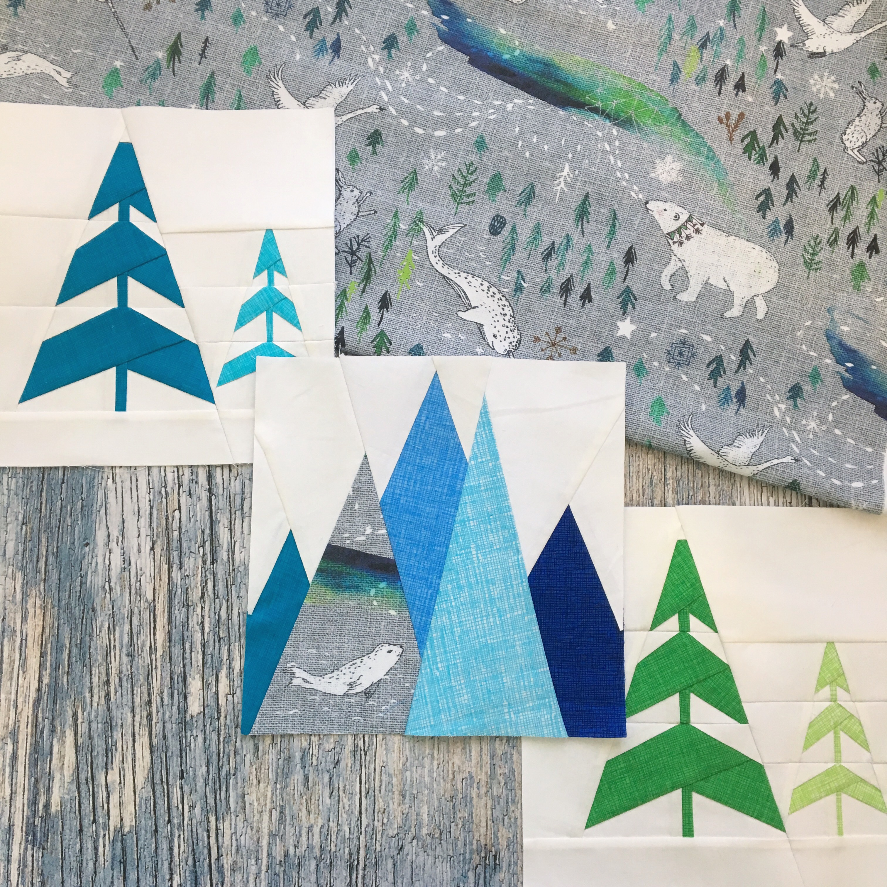 Kristy Lea's quilt blocks inspired by Arctic Song by nouveau_bohemian | Spoonflower Blog