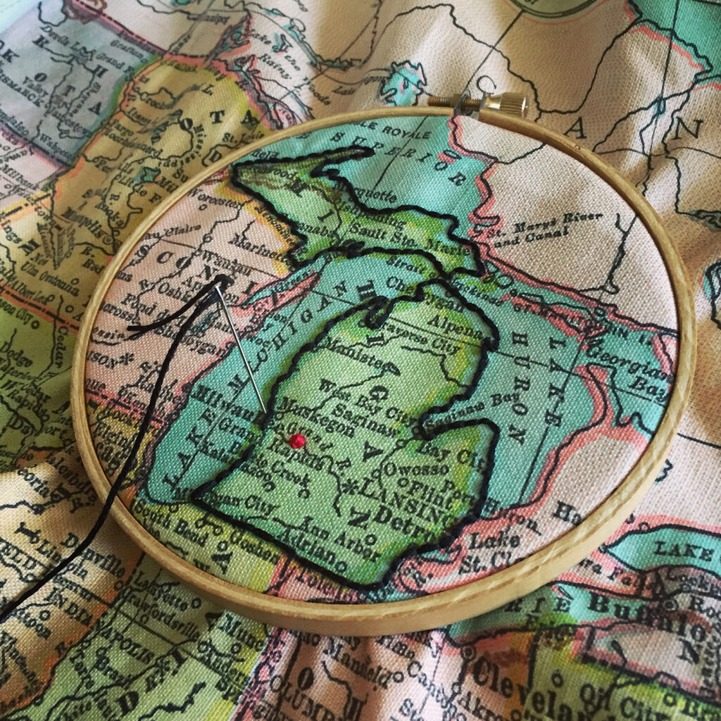 Embroidered map by Robert Mahar | Spoonflower Blog