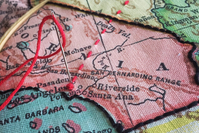 Vintage map with embroidery