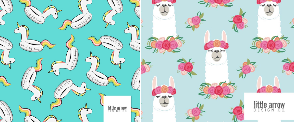 Left to right: Unicorns Pool Float Teal and Floral Llamas on Baby Blue by littlearrowdesign