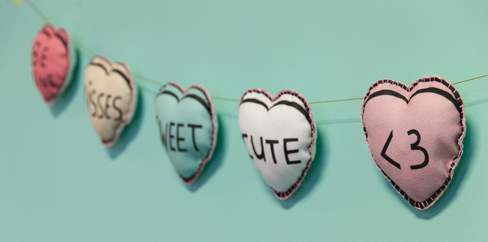 This DIY Candy Heart Garland is Galentine's Day Approved | Spoonflower Blog