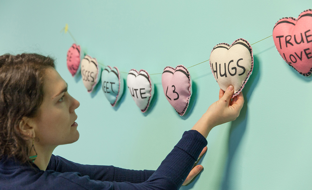 Adjust the fabric candy heart garland | Spoonflower Blog