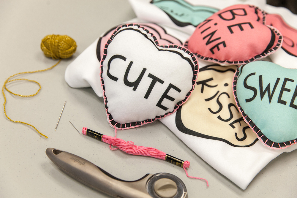 Materials for DIY candy heart garland | Spoonflower Blog