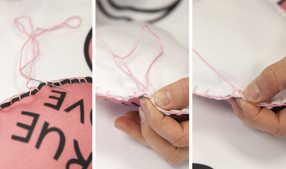 Finish your basket stitch to close the hole in the fabric candy heart | Spoonflower Blog