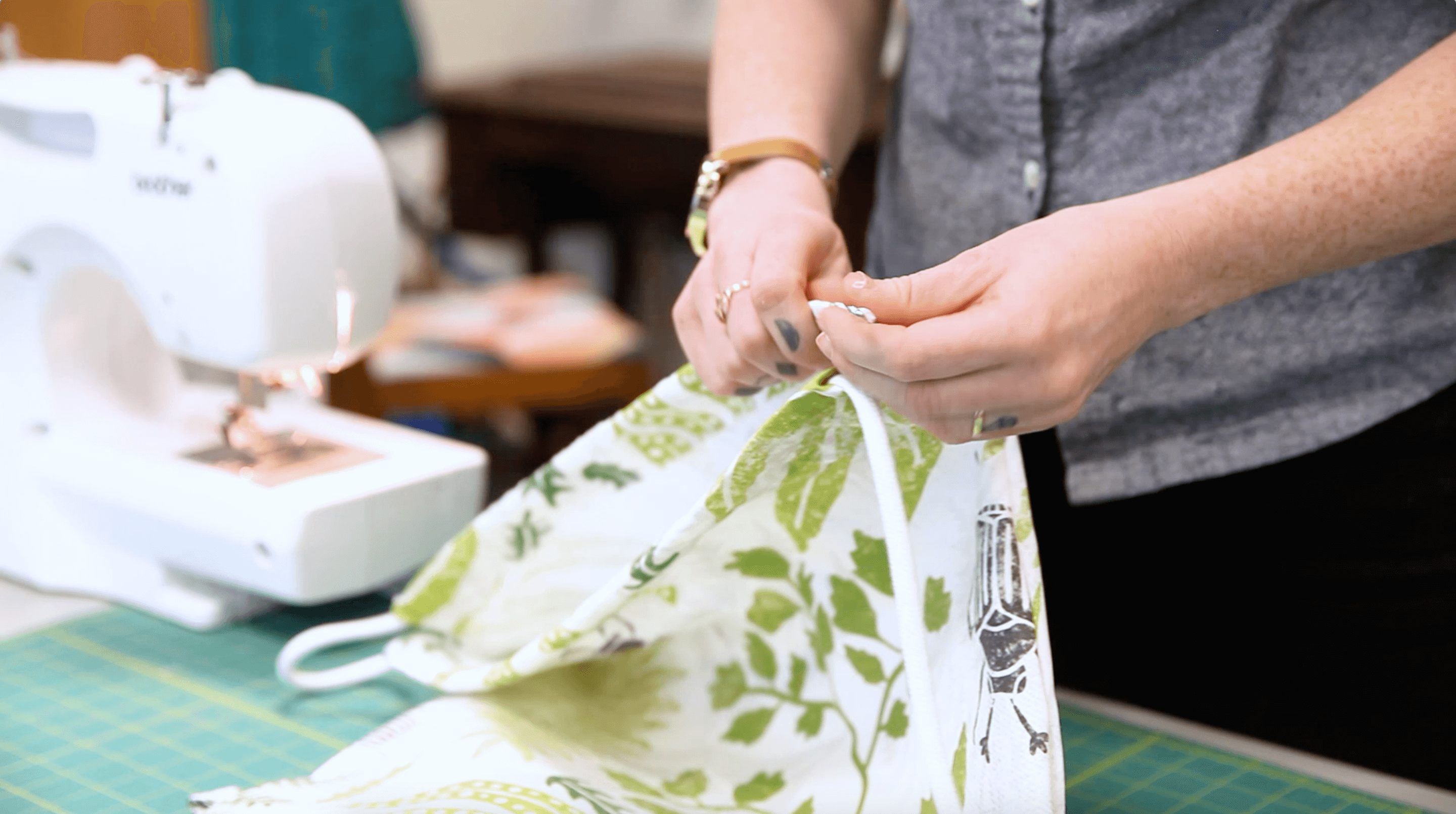 DIY Drawstring Backpack - insert the drawstring | Spoonflower Blog