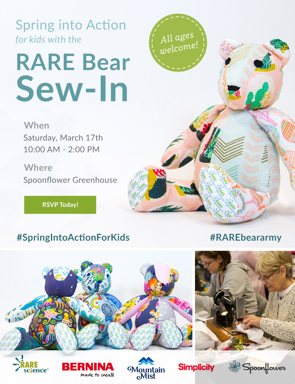 Save the Date! The 3rd Annual RARE Bear Sew-In | Spoonflower Blog