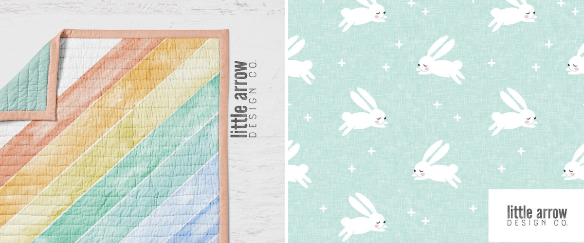 Watercolor Rainbow Wholecloth and Bunnies on Dark Mint by littlearrowdesign