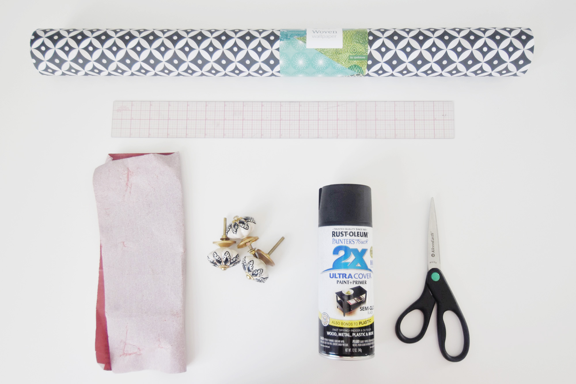 Revamp a Nightstand with Wallpaper - materials | Spoonflower Blog