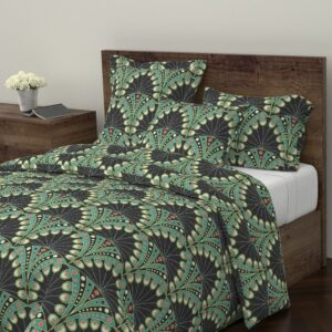 Art Deco Peacock Feathers by lilalunis on Roostery's Wyandotte Duvet Cover | Spoonflower Blog