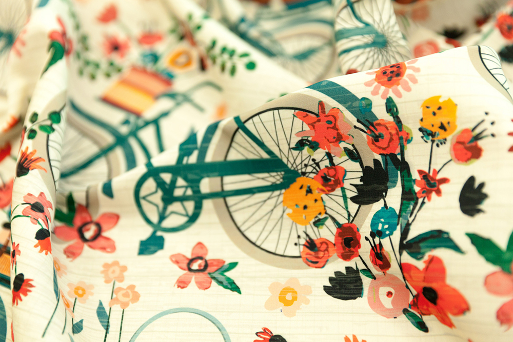 Announcing the Cycling Design Challenge Winner: Ride to the Flower Market by sarah_treu | Spoonflower Blog
