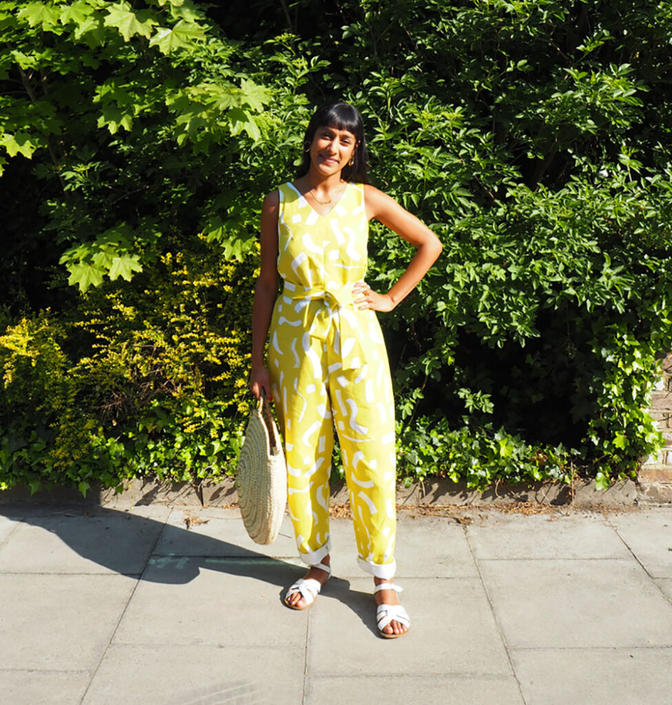DIY jumpsuit using custom printed fabric - Zeena Shah