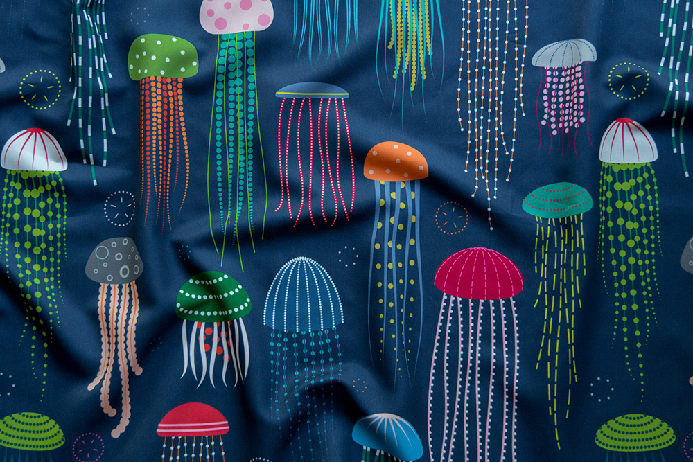 Grand prize winner of the Animals of the Ocean design challenge: Just Jellies Jellyfish by katerhees | Spoonflower Blog
