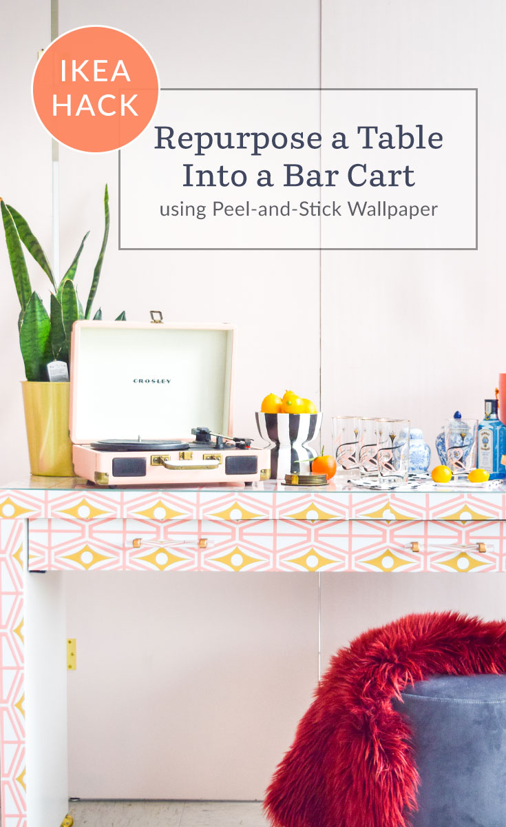 How to Repurpose a Table Into a Bar Cart | Spoonflower Blog