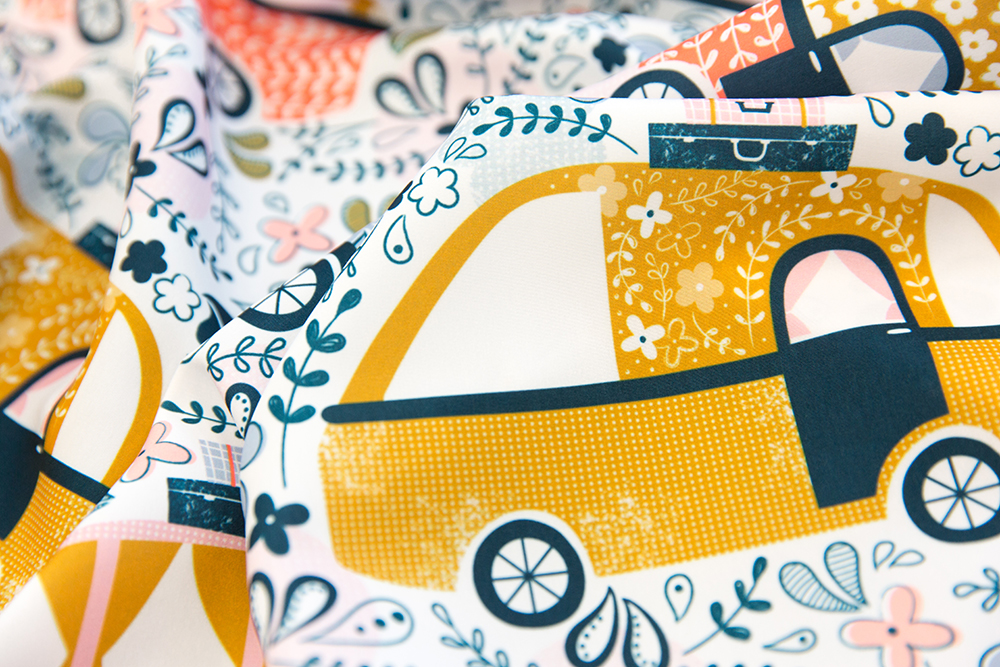CAPTION Summer Holidays Campervans by sarah_knight is the Four Wheels Design Challenge winner | Spoonflower Blog