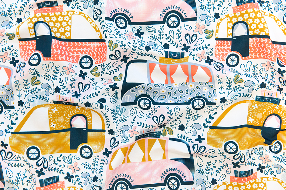 CAPTION Summer Holidays Campervans by sarah_knight is the Four Wheels Design Challenge winner! | Spoonflower Blog