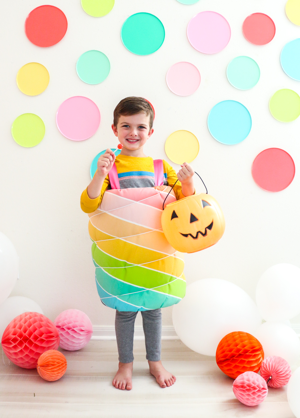 Handmade Halloween: No-Sew Rainbow Lollipop Costume | Spoonflower Blog