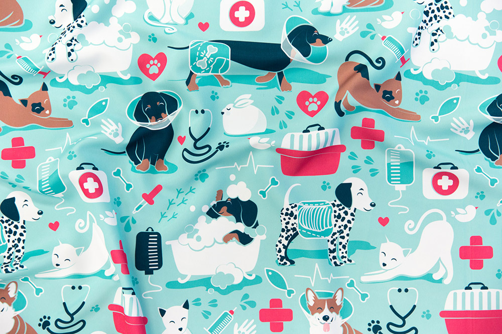 VET medicine happy and healthy friends by selmacardoso is the Medical Professions design challenge winner! | Spoonflower Blog