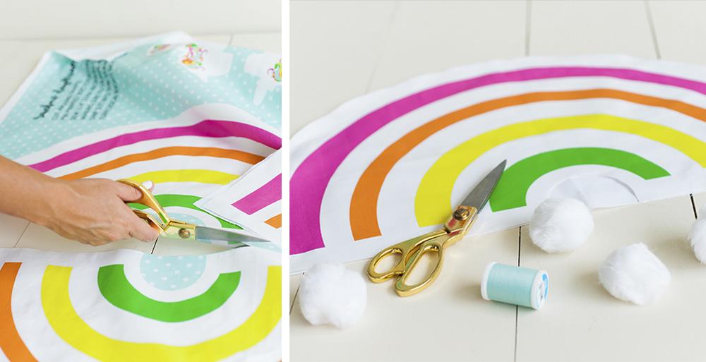 DIY Karneval Regenbogen Kostum für Kinder ausschneiden aus Spoonflower Stoffe