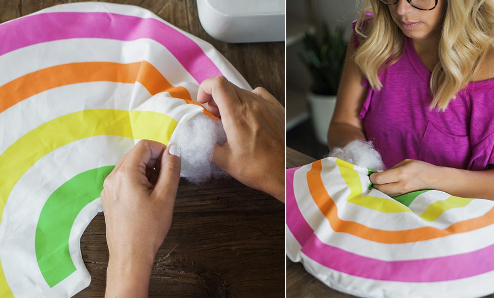 DIY Karneval Regenbogen Kostum für Kinder ausstopfen